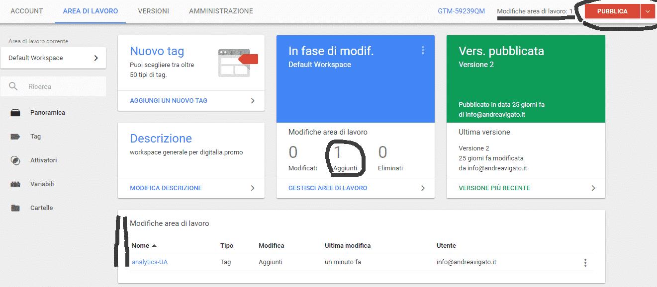 Google Tag Manager: Pubblica Contenitore